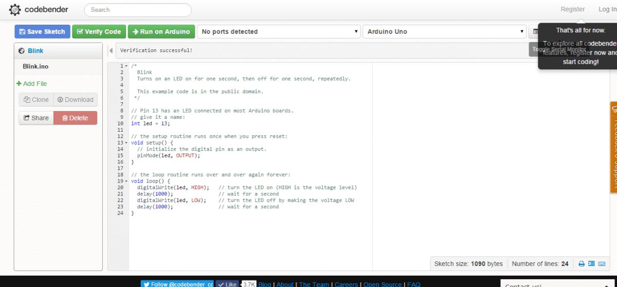 Blink   codebender