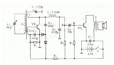 reproduce two tubes of semiconductor radio circuit