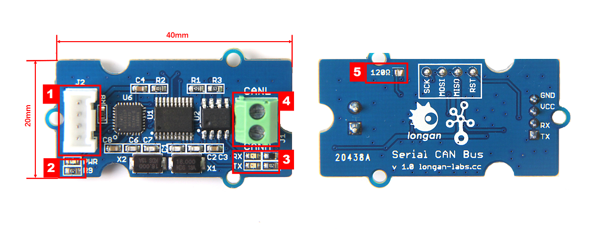 Serial CAN-BUS Module based on MCP2551 and MCP2515